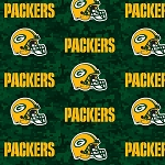 Green Bay Packers Digital Green NFL Pro Football Cotton Fabric Print
