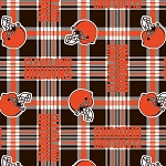 Fleece Cleveland Browns NFL Football Plaid Fleece Fabric Print by the Yard (s6761df)