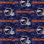 Fleece Denver Broncos NFL Football Digital Blue Fleece Fabric Print by the Yard (s6767df)