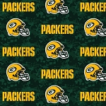 Fleece Green Bay Packers NFL Football Digital Green Fleece Fabric Print by the yard (s6769df)