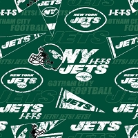 Cotton New York Jets Green NFL Pro Football Cotton Fabric Print by the Yard
