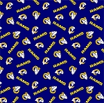 Cotton Los Angeles Rams NFL Pro Football Cotton Fabric Print by the Yard