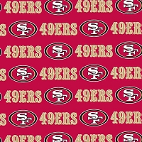 Cotton San Francisco 49ers Red NFL Pro Football Cotton Fabric Print by the yard