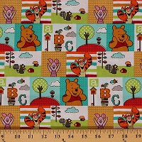 Cotton Character Patch Winnie The Pooh Tigger Piglet ABCs Cartoon Cotton Fabric Print by the Yard (51909-G550715)