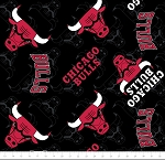 Fleece Chicago Bulls NBA Basketball Black Fleece Fabric Print by the Yard (83chi0002a)