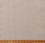 Premium Yarn-Dyed Woven Ticking Stripe Khaki Stripes on Natural 45