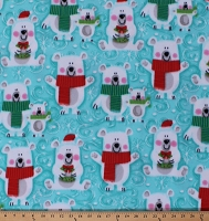 Fleece (not for masks) Polar Bears Animals Winter Christmas Holiday Snowflakes on Blue Snow Buddies Fleece Fabric Print by the Yard (44161-1b)