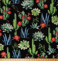 Fleece Succulents Cactus Cacti Flowering Plants Southwestern Desert Blooms Black Fleece Fabric Print by the Yard (49443-1)