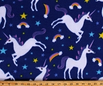 Fleece (not for masks) Unicorns Rainbows Stars Magical Fairytale Mythical Creatures Kids Girls Chasing Dreams Royal Blue Fleece Fabric Print by the Yard (52330-1)