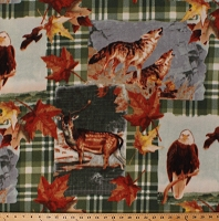 Fleece (not for masks) American Wildlife Northwoods Animals Wolf Wolves Whitetail Deer Bald Eagles Patches on Green Plaid Fleece Fabric Print by the Yard (38064-1b)