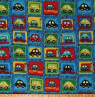 Fleece Cars Taxis Taxi Cabs Vehicles Squares Polka Dots Kids Blue Fleece Fabric Print by the Yard (PF0220-592)