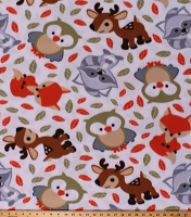 Fleece (not for masks) Forest Animals Foxes Raccoons Owls Deer Sweet Woodland Friends White Fleece Fabric Print by the Yard (DT-5370-DB-1WHITE/MULTI)