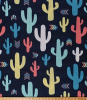 Fleece Baby Cactus Cacti Succulents Desert Plants Arrows on Navy Blue Southwestern Fleece Fabric Print by the Yard (DT-6084-DB-2NAVY)