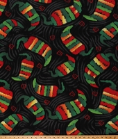Fleece Chili Peppers Mexican Food Fiesta Chili's Confetti Black Fleece Fabric Print by the Yard (DT-3615-DB-1BLACK)