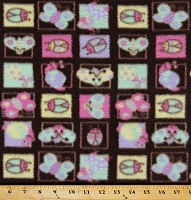 Fleece (not for masks) Cute Bugs on Squares Fleece Fabric Print by the yard- Chocolate/Pastel adt8630-8a2d