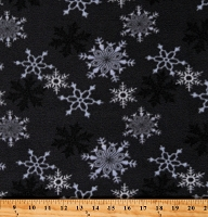 Fleece (not for masks) Snowflakes Black and White Snow on Gray Winter Christmas Holiday Festive Fleece Fabric Print by the Yard (8827M-gray)