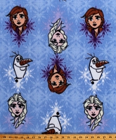 Fleece Frozen Best Friends Anna Elsa Olaf Snowman Disney Princess Characters on Blue Snowflakes Kids Winter Fleece Fabric Print by the Yard (CP70046-1600710s)