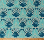 Fleece Minions Despicable Me Characters Bob Wave Blue Cream Fleece Fabric Print by the Yard (7720M-9C-blue)