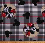 Fleece Mickey and Minnie Mouse Badges on Gray Plaid Kids Disney Characters Fleece Fabric Print by the Yard (CP67821-A62)