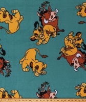 Fleece The Lion King Simba Pumbaa Timon Characters on Teal Green Hakuna Matata Disney Fleece Fabric Print by the Yard (67120-ZJ50710)