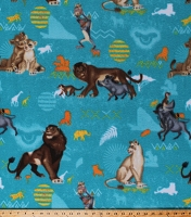 Fleece (not for masks) The Lion King Badges Disney Characters Simba Nala Timon Pumbaa Rafiki Kids Blue Fleece Fabric Print by the Yard (70737-1600710S)