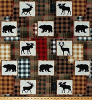 Fleece (not for masks) Northwoods Animals Deer Moose Bears Plaid Patchwork Squares Lodge Cabin Hunting Fleece Fabric Print by the Yard (7637B-8C)