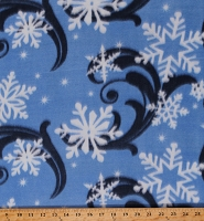 Fleece (not for masks) Snowflakes Snow Swirls Winter Holiday Christmas Blue Fleece Fabric Print by the Yard (9193M-12D-blue)