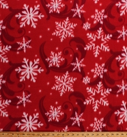 Fleece (not for masks) Snowflakes Snow Swirls on Red Winter Christmas Holiday Fleece Fabric Print by the Yard (7968M-11C)