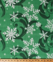 Fleece (not for masks) Snowflakes Snow Swirls on Green Winter Christmas Holiday Fleece Fabric Print by the Yard (7968M-11C)
