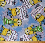 Fleece (not for masks) Minions Dear Santa I Can Explain Christmas Holiday Letters Despicable Me Characters on Blue Fleece Fabric Print by the Yard (7720M-9C-christmas)