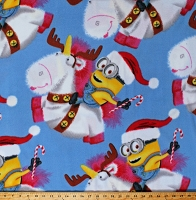 Fleece Minions Fluffy Unicorn Reindeer Santa Christmas Holiday Despicable Me Characters Bob Blue Fleece Fabric Print by the Yard (7720M-9C-unicorn)