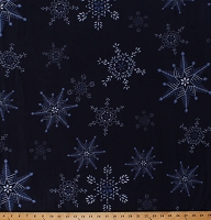 Fleece Snowflakes Snow on Navy Blue Christmas Winter Holidays Fleece Fabric Print by the Yard (A342.13)