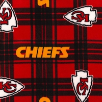 Fleece Kansas City Chiefs Red Plaid NFL Football Sports Team Fleece Fabric Print by the yard (6454)