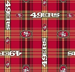 Fleece San Francisco 49ers Red Plaid NFL Pro Football Team Fleece Fabric Print by the Yard (6393)