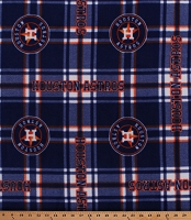 Fleece (not for masks) Houston Astros Navy Blue Plaid MLB Team Baseball Fleece Fabric Print by the Yard (60100b)