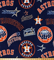 Fleece (not for masks) Houston Astros Cooperstown Navy Blue MLB Team Baseball Fleece Fabric Print by the Yard (60184b)