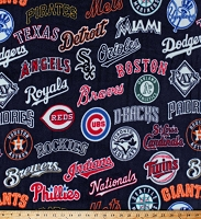 Fleece (not for masks) MLB All Teams Logos on Navy Blue Major League Baseball Professional Sports Fleece Fabric Print by the Yard (60051B)