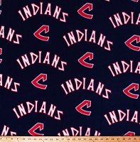 Fleece (not for masks) Cleveland Indians Cooperstown Logos on Navy Blue MLB Baseball Team Fleece Fabric Print by the Yard (60182B)