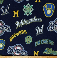Fleece (not for masks) Milwaukee Brewers Cooperstown Logos on Navy Blue MLB Pro Baseball Sports Team Fleece Fabric Print by the Yard (60180B)