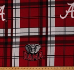 Fleece University of Alabama Crimson Tide Red Plaid College Sports Team Fleece Fabric Print by the Yard (sal812s)