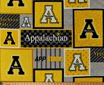 Fleece Appalachian State University Mountaineers App State Logos Gold Squares College Team Sports Fleece Fabric Print By the Yard (APPST-1177)