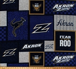 Fleece University of Akron Zips Fear the Roo Zippy the Kangaroo Logos Blue Squares College Team Sports Fleece Fabric Print By the Yard (AKR-1177)