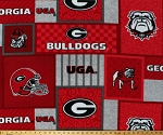 Fleece University of Georgia Bulldogs UGA Logos Mascot Football Helmets Red Squares College Team Sports Fleece Fabric Print By the Yard (GA-1177)