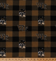 Fleece Wake Forest University Demon Deacons Black Gold Buffalo Plaid College Sports Team Fleece Fabric Print by the Yard (1190-WF)