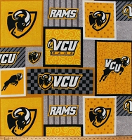 Fleece VCU Rams Virginia Commonwealth University Gold College Sports Team Fleece Fabric Print by the Yard (VCU-1177)