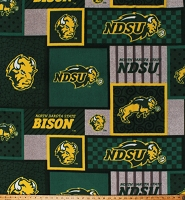 Fleece North Dakota State University Bison Squares College Team Sports Fleece Fabric Print By the Yard (NDS1177)