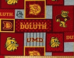 Fleece University of Minnesota Duluth Bulldogs Mascot Logos Squares College Team Sports Fleece Fabric Print By the Yard (UMD-1177)
