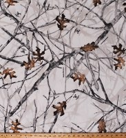 Fleece True Timber Cam Conceal Snow Camouflage Branches Leaves on White Fleece Fabric Print by the Yard (CP68036-G55S)