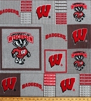 Fleece University of Wisconsin Badgers Gray Squares College Team Fleece Fabric Print by the Yard (WIS-158)