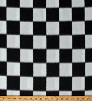 Fleece Racing Check Black and White Checks Checkered Squares Fleece Fabric Print by the Yard (7968M-11C)